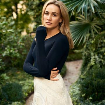 Look 1: Carmen wears Zimmermann lace-panelled polka-dot satin midi skirt and Victoria Beckham navy jumper