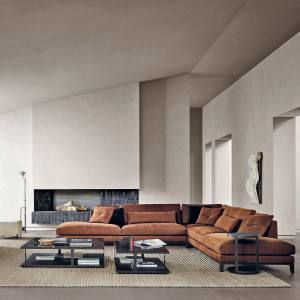 Poliform's Bellport modular sofas, from £6,785, contrast gently with a greige background