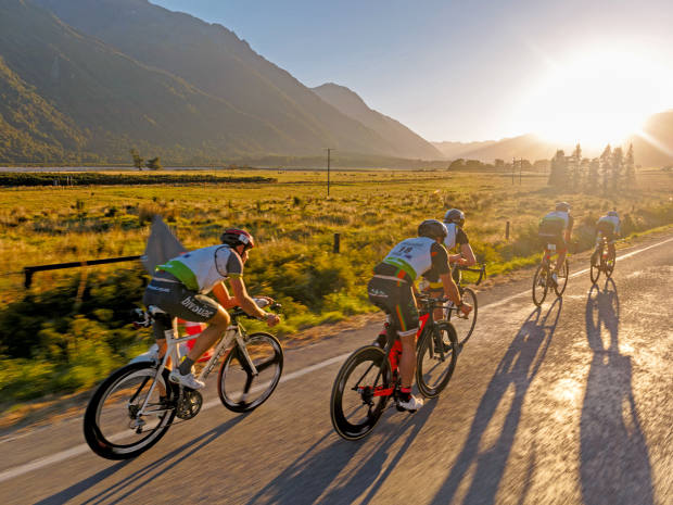 The start of the 55km cycling stage at sunrise
