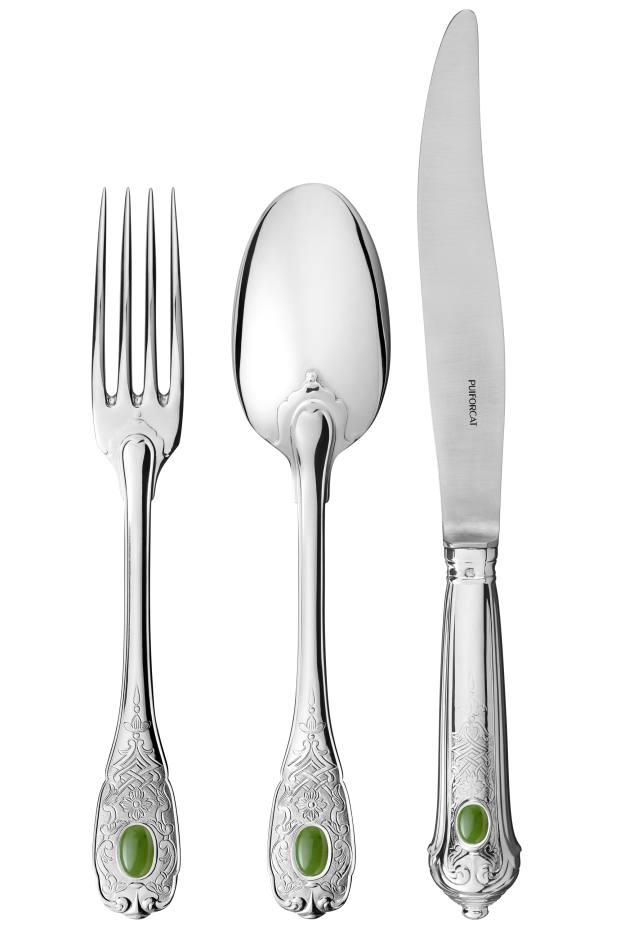 Puiforcat Précieux Collection silver and jade Elysée fork, £1,040, spoon, £1,040, and knife, £1,510
