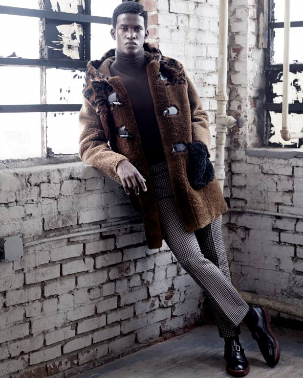 Coach 1941 shearling coat, £2,050, and wool trousers, £295. Etro wool rollneck, £380. Ermenegildo Zegna Couture leather and silicone monk shoes, £855. Falke cashmere socks, £60
