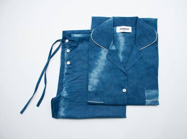 Canaan naturally dyed indigo shibori pyjamas set