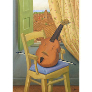 Fernando Botero's Still Life with Violin (2000), oil on canvas