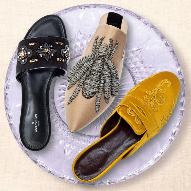From left: Louis Vuitton embellished suede Dark Musemules, £685. Sanayi 313embroidered gabardine Ragno slippers, £967. Bougeotte embroidered satin Mimosa slippers, €662