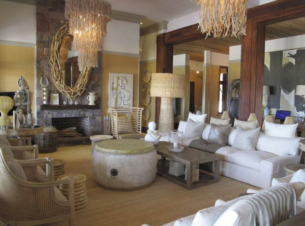 The lounge at the newly opened private villa, Singita Serengeti House