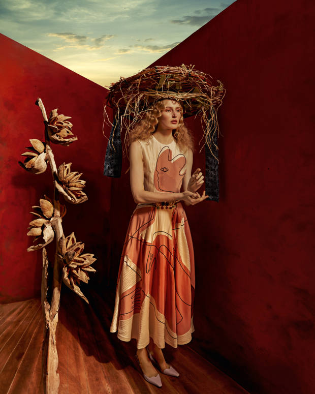 Roksanda embroidered satinAdalia dress, £1,395. Yuul Yie leather Lissom sandals, £335. Prudence Millinery for Andreas Kronthaler for Vivienne Westwood hay, wood and grass hat, price on request. Graff multicoloured diamond earrings (just seen), price on request. Sonia Petroff gemstone and silk cord Seahorse belt, £965