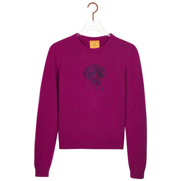 Merino wool Petite Crewneck with pet embellishment, from $495
