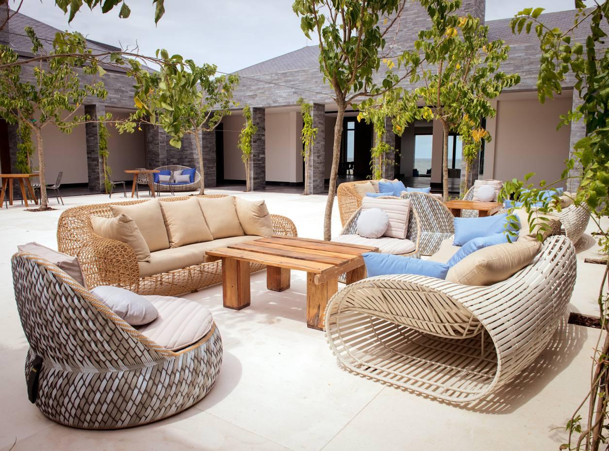 A courtyard at the new hotel-and-villa property Bahia Vik José Ignacio, Uruguay
