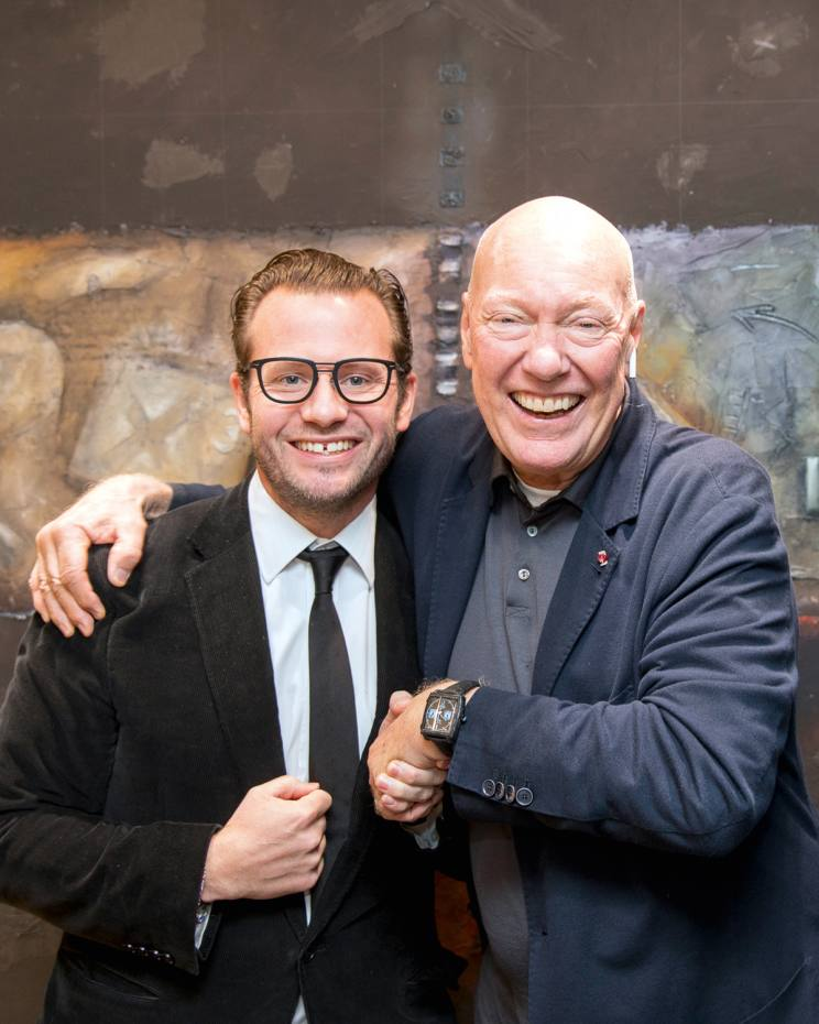 George Bamford, founder of Bamford Watch Department, with LMVH CEO Jean-Claude Biver at Baselworld this year