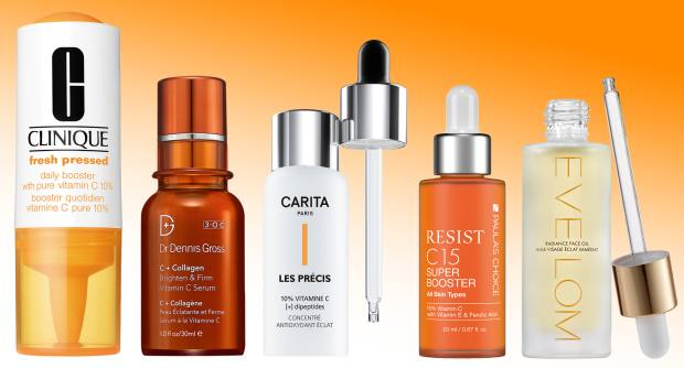 From left: Clinique Fresh Pressed 7 Day with Pure Vitamin C 10%, £25. Dr Dennis Gross C + Collagen Brighten & Firm Vitamin C Serum, £79. Carita Les Précis 10% Vitamin C, £49.50. Paula's Choice Resist C15 Super Booster, £45. Eve Lom Radiance Face Oil, £60