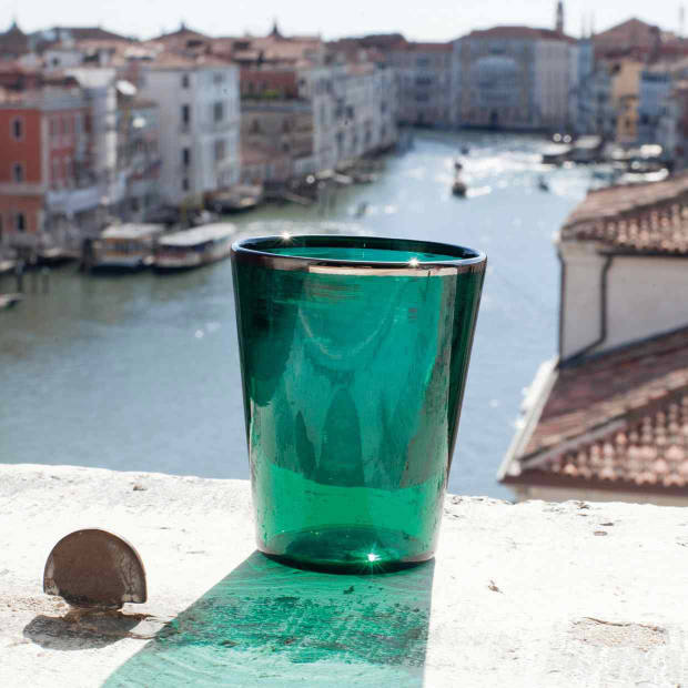 A Murano-glass tumbler from the Arrivabene factory in Venice