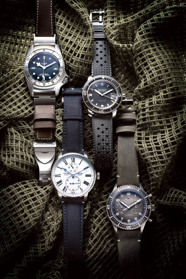 Clockwise from top left: Tudor steel Black Bay P01 on leather strap, £2,830. Blancpain steel Fifty Fathoms Barakuda onrubber strap, £10,830. Zenith steel Pilot Cronometro Tipo CP-2 Flyback on nubuck strap, £6,400. Ulysse Nardin steel Marine Torpilleur Military US Navy on sailcloth strap, £6,800