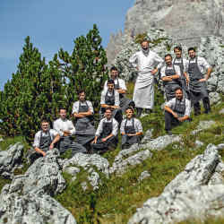 St Hubertus chef Norbert Niederkofler and his team –their Cook the Mountain menus use only seasonal ingredients from the Alpineregion
