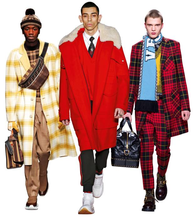 From left: Fendi woolcoat, £2,690. Alexander McQueen wool parka withdetachable shearling collar, £2,845. Versace wool overcoat, from £1,760