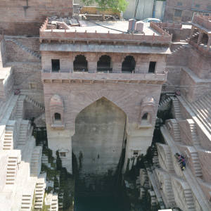 A view from The Stepwell House restaurant at the newly renovated Raas hotel, Jodhpur