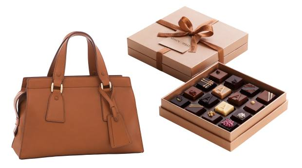 From left: Giorgio Armani  calfskin Le Sac II, from £1,500. Armani/Dolci praline gift box, €30 for 16 chocolates