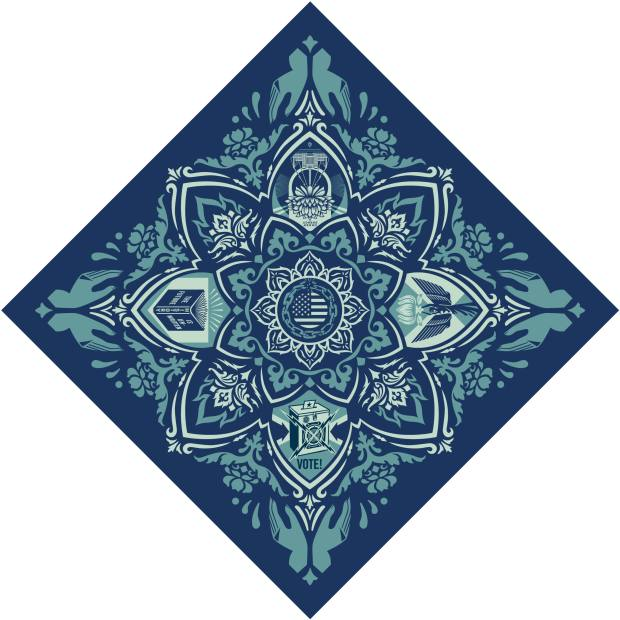Shepard Fairey's bandana for Artists Band Together