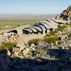High Desert House's concrete canopies recall the plates of an armadillo