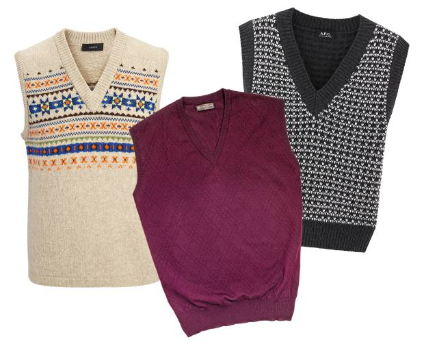 From left: Joseph lambswool Fair Isle sleeveless jumper, £195. Corneliani virgin-wool vest, £183. APC wool-mix Sitka jumper, £190