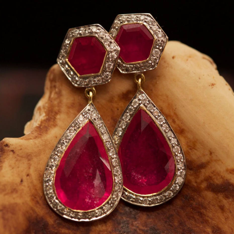 Gold Hex earrings with rubies and diamonds, £8,575
