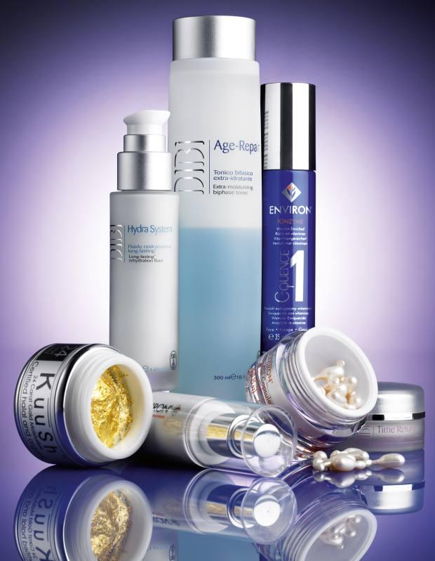Clockwise from far left: KuuSh 24 Carat Gold Moisturiser, £650; Dibi Hydra rehydration fluid, £38, and Age Repair toner, £30; Environ C-Quence vitamin-enriched gel, £79.95; Dibi Time Return eye cream, £49; Environ Intensive oil capsules, £37, and Environ AVST moisturiser, £29.95.