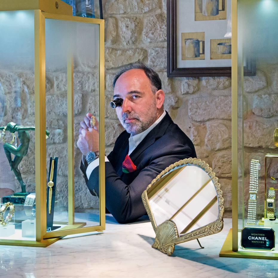 Antoine de Macedo in his Paris store