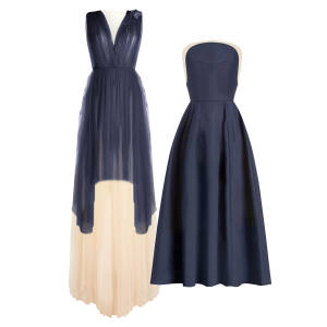 From left: tulle gown, £5,170. Cotton dress, £2,500