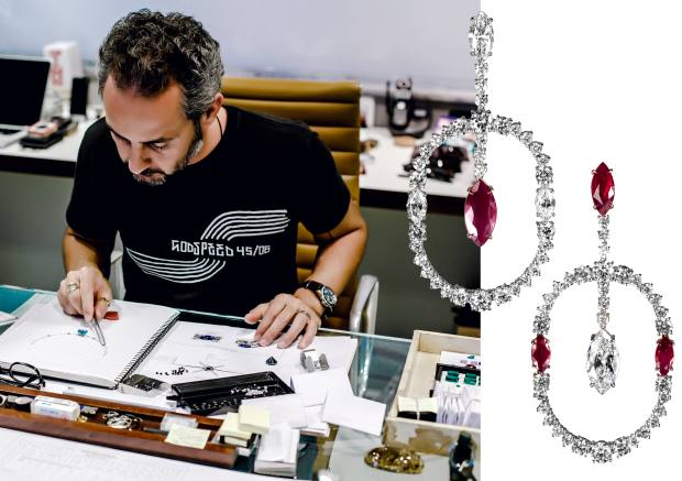 From left: Ara Vartanian at work. Ara Vartanian white gold, diamond and ruby earrings, price on request.
