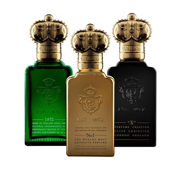 Clive Christian's Original Collection features three fragrances each made up of two distinct but complementary scents. From left: 1872, £165 for 100ml. No 1, £270 for 50ml. X, £186 for 100ml