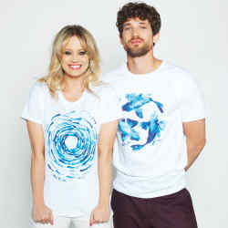 Kimberly Wyatt and Max Rogers wearing Fish School and Fish Circle T-shirts by John Rocha, £30 each