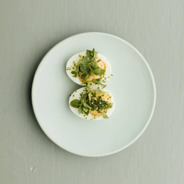 Quail egg mimosa with wild herbs