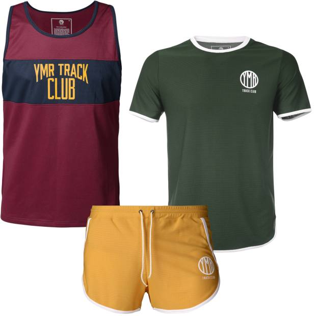 From left: YMRTrack Club polyester/elastane singlet, £45, shorts,£55, and T-shirt, £50
