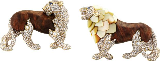 Van Cleef & Arpels gold, diamond, sapphire, golden mother-of-pearl and amboiny wood Lion et Lionne clips, price on request
