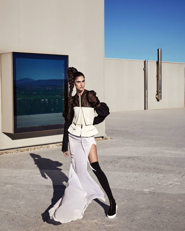 Vera Wang wool off-the-shoulder top, about £1,100, wool peplum skirt, about £310, and silk georgette skirt, about £700. Maison Margiela polyester mesh top, £705. DKNY leather, elastane and rubber boots, £445