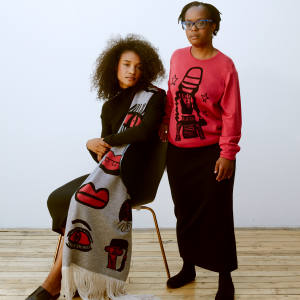 From left: Ntiense Eno Amooquaye merino-wool Lip Talking shawl, £280. Looking at the Stars merino-wool crewneck jumper, £220