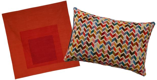 From left: Christopher Farr wool Homage to the Square: Less and More tapestry, £9,000, in association with the Josef and Anni Albers Foundation; and Paul Smith for The Rug Company wool Zig Zag cushion, £495