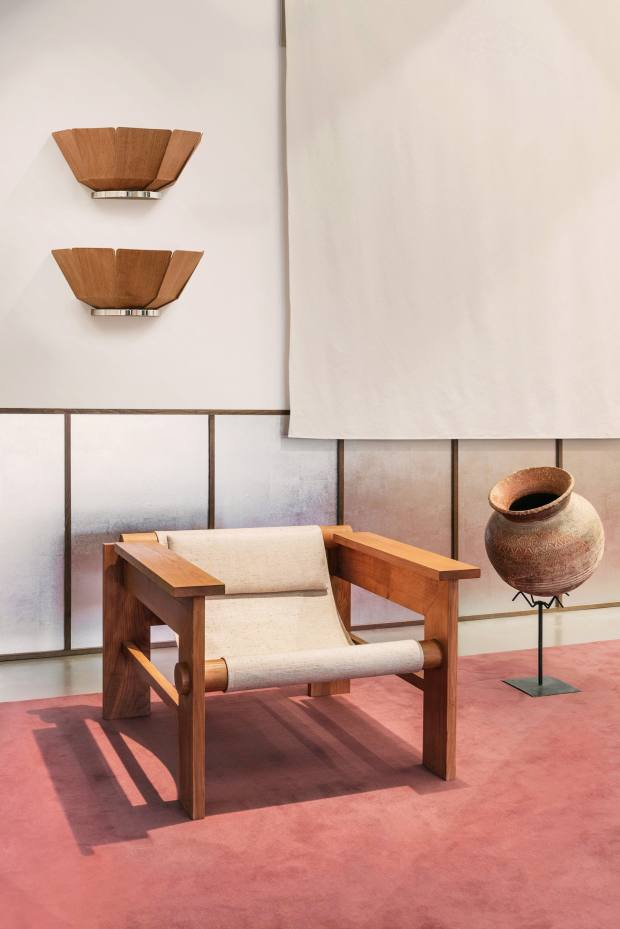 Studio Haos oak chair with linen canvas, and oak, nickel-plated aluminium and Japanese woven paper wall lamps, both POA