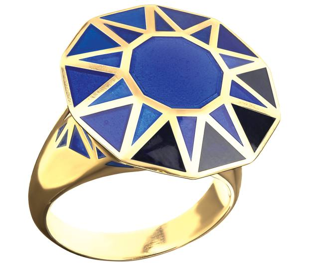 Gold and handpainted blue enamel Copy Cat ring, £5,500