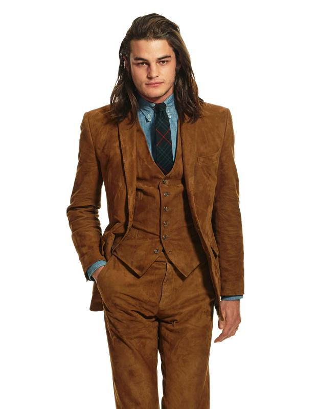 Polo Ralph Lauren suede jacket, £1,735, matching waistcoat, £495, and matching trousers, £795
