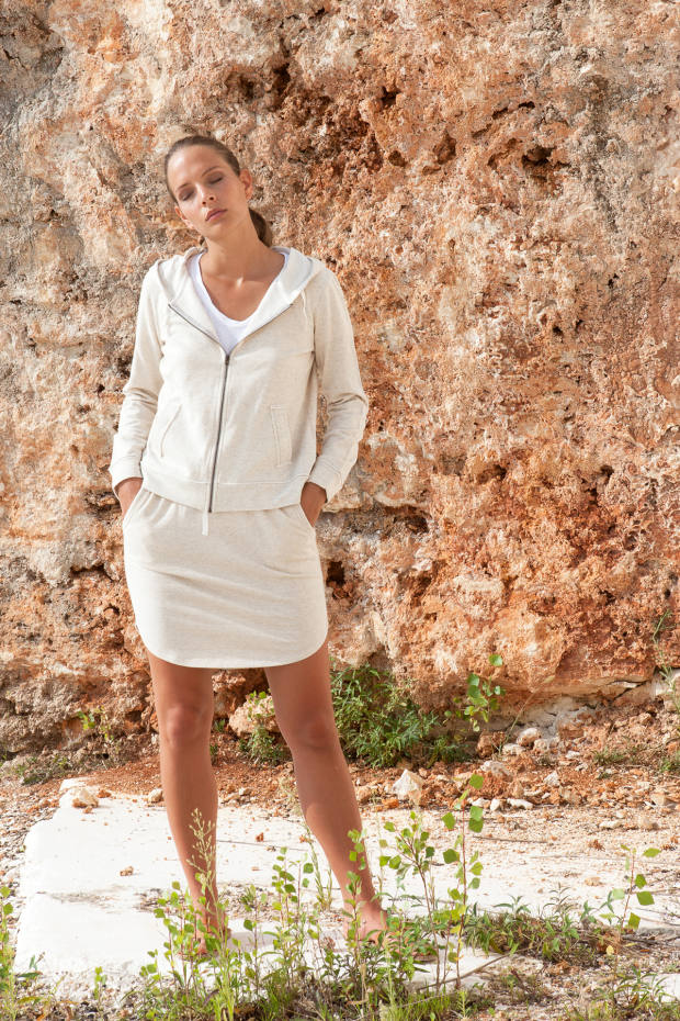 Japanese cotton hoodie, €224, and matching skirt, €179