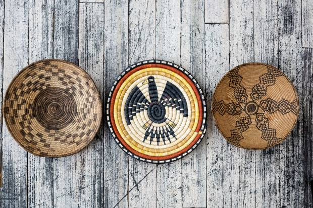 Geometric-patterned baskets, $400-$2,500, from the Hopi, Pima and Apache tribes