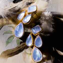 Larkspur & Hawk rose gold, quartz and mother-of-pearl earrings, £10,500