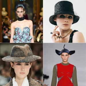 Clockwise from top left: Erdem cotton jacquard hat, POA. Dior x Stephen Jones leather bucket hat, from £550. Loewe silk satin bird hat, £2,100. Chanel tweed and felt fedora, £1,700