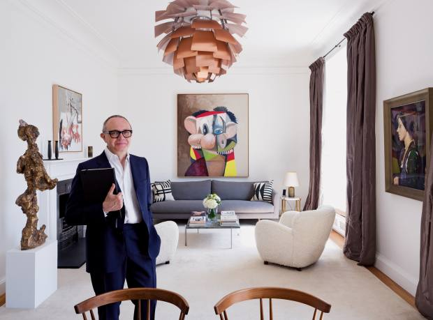Thomas Croft in the London apartment he created for Per Skarstedt, with On the Waterfront (Charlie) by George Condo (back wall), Untitled by Martin Kippenberger (left wall), Untitled #212 by Cindy Sherman (right wall) and Dou Dou Ché, a sculpture by Rebecca Warren