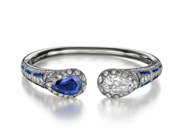Van Cleef & Arpels 1924 art-deco platinum, diamond and sapphire bangle, price on application, from Siegelson