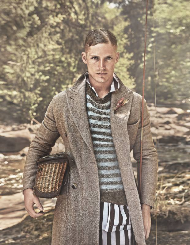 Dunhill wool coat, £1,790, cashmere/silk/mohair jumper, £590, and cotton pyjama set, £490. Farlows sea trout fly, £2.25 each