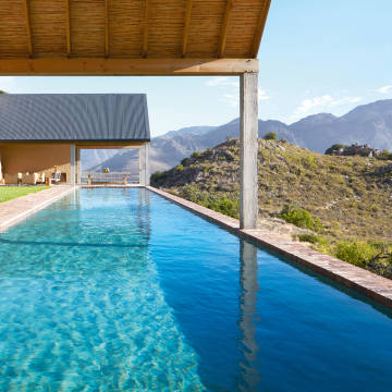The 25m swimming pool at 7 Koppies, the Franschhoek guesthouse of Ampersand Travel founder James Jayasundera