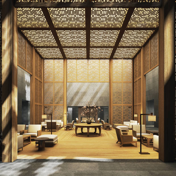 A rendering of the arrival lounge at the new Amanyangyun near Shanghai