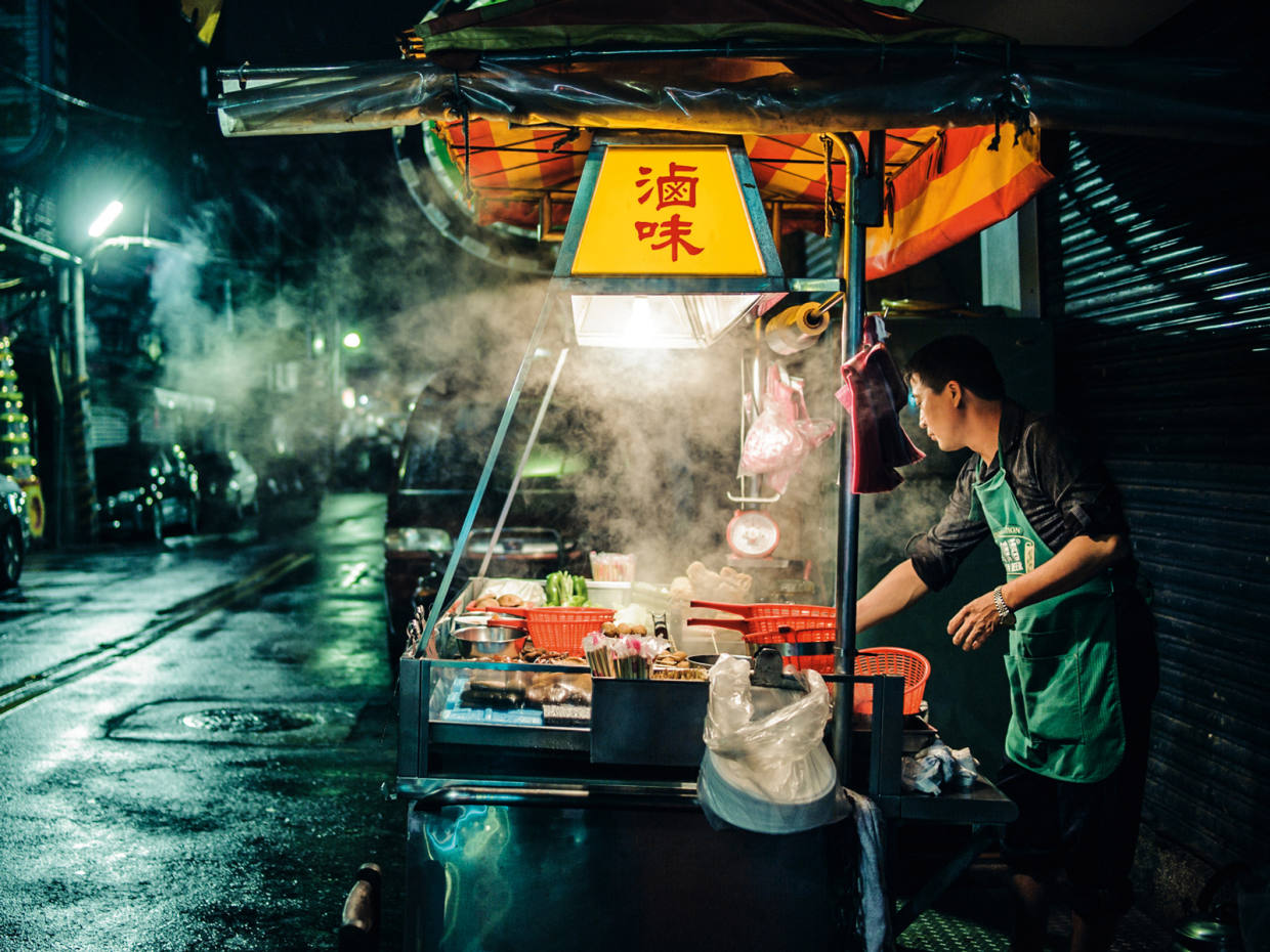 A stall selling lu wei, a popular, meaty Taiwanese broth. Taipei's street food has been honoured by Michelin in its inaugural guide to the city