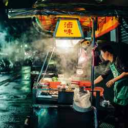 A stall selling lu wei,apopular, meaty Taiwanese broth. Taipei's street food has been honoured by Michelin in its inaugural guide to the city